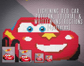 Lightning red car corner to corner crochet pattern for blanket and tutorial, 4 sizes graph patterns and written instructions