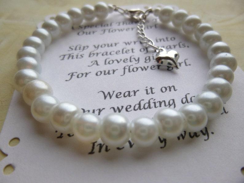 Little Girl Bracelet Pearl Flower Girl Bracelet Pearl 33. WHITE
