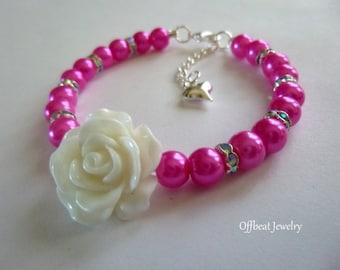 Pearl Flower Girl Bracelet, Little Girl Bracelet, Pearl Bridesmaid Bracelet, Flower Girl Jewelry, Flower Girl Bracelet, Bridesmaid Bracelet