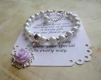 Childrens Bracelet, Pearl Flower Girl Bracelet, Flower Bracelet, Flower Girl Bracelet, Child's Bracelet, Flower Girl Jewelry