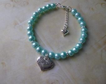 Pearl Flower Girl Bracelet, Pearl Bracelet, Flower Girl Gift, Flower Girl Charm Bracelet, Little Girls Pearl Bracelet, Flower Girl Jewelry
