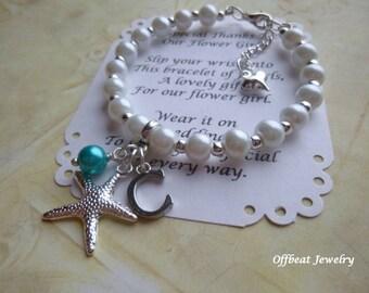 Personalized Beach Wedding Bracelet, Personalized Pearl Flower Girl Bracelet, Bridesmaid Bracelet, Personalized Bracelet, Pearl Bracelet