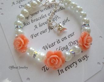 Rose & Pearl Bracelet, Pearl Flower Girl Bracelet, Pearl Childrens Bracelet, Pearl Girls Bracelet, Little Girls Flower and Pearl Bracelet
