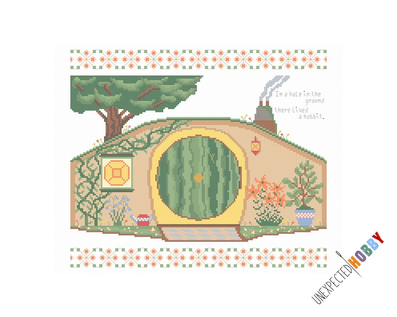Home Sweet Hobbit-Hole  Cross-stitch Pattern INSTANT image 0