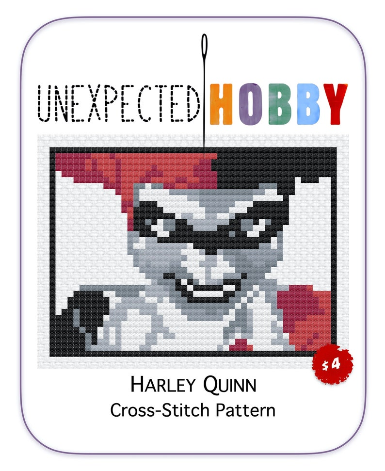 Harley Quinn  Cross-stitch Pattern INSTANT DOWNLOAD PDF image 0