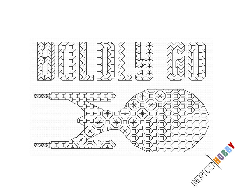 Boldly Go  Cross-stitch Pattern INSTANT DOWNLOAD PDF image 0