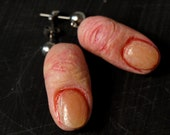 Shrunken finger earrings, Odd jewelry, Weird and unusual accessories, Creepy witch studs, severed fingers, Horror Halloween accessories