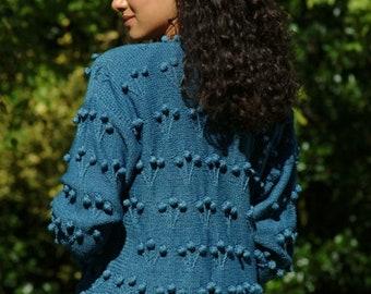 "Hand Knitted, Cotton, Aran, Celtic Style Cardigan, Sweater   Design: HEATHER ~ Hip Length; 24"" (61cm)"