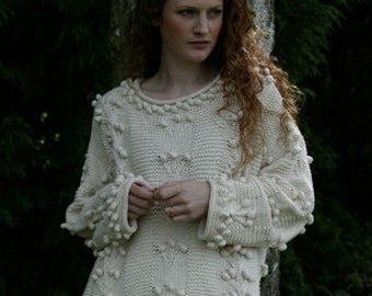 """Hand Knitted, Cotton, Aran, Celtic Style Sweater, Jumper   Design: SIOBHAN ~ Hip Length; 23"""" (59cm)"""