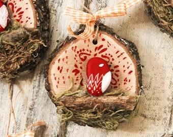 Ornament hand-painted wood birds, folk style rustic folk countryside country bohemian boho slavic folk art floral ethnic