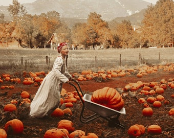 "Postcard art photography ""Preparing autumn"" Olga Valeska - Autumn Halloween Fall autumn magic faerie fairy tale pumpkin patch"