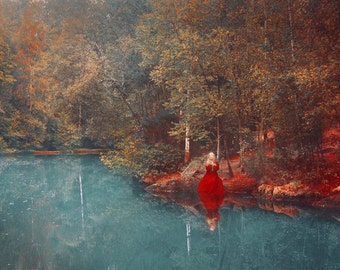 """Postcard photograph of art """"The mirror to the fairies"""""""