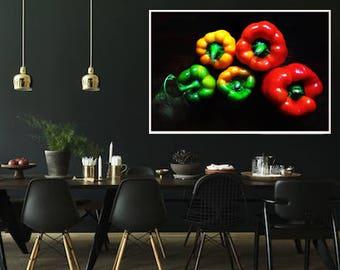 kitchen wall art, vegetable photos, canvas photo prints, vegan gift ideas, restaurant wall decor, dining room wall art ideas, pepper photos