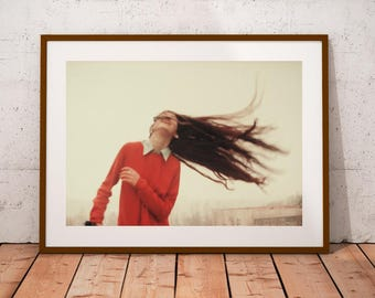 emotional portrait photography, fine art photography, canvas photo prints, wall art decor, woman portrait, wind photos, freedom photography