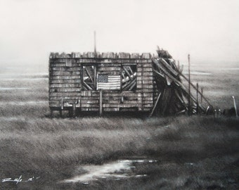 "Quality limited edition prints of the LBI fallen landmark ""The Shack"" original charcoal"
