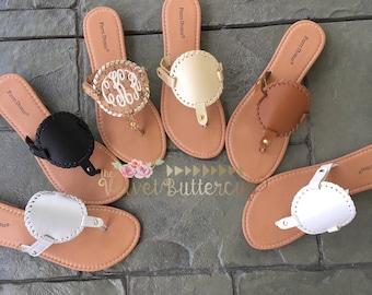 ac43966741f69 Disc Sandal - Flip Flop - Thong Flip Flop - Medallion Sandal - Monogrammed  Sandal - Monogram Flip Flops - Summer Shoes - Monogrammed Shoes