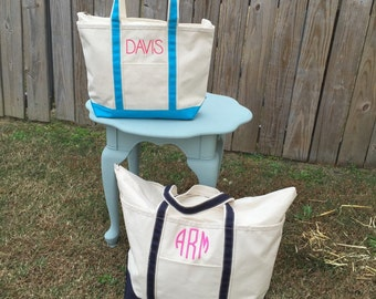 Monogrammed Boat Tote - Monogrammed Canvas Tote - Monogrammed Bag - Monogrammed Beach Bag - Duffle Bag - Monogrammed Duffle Bag - Beach Bag