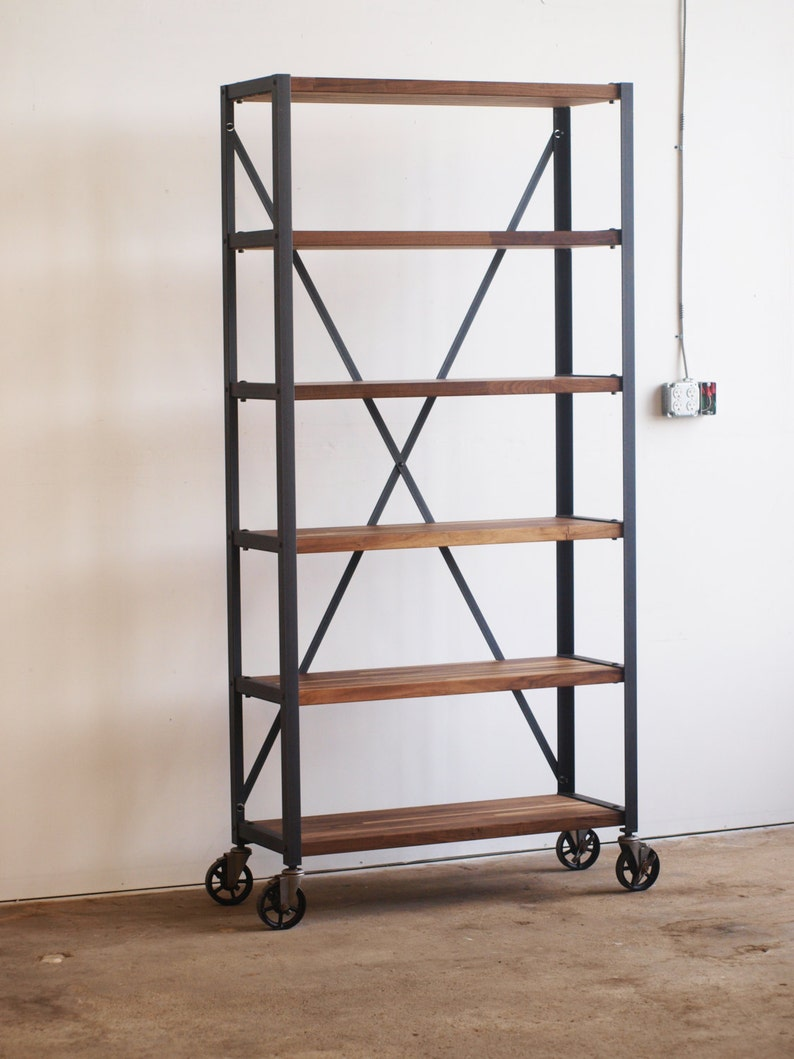 Walnut Engineers Industrial Bookcase Shelf Shelving Vintage image 0