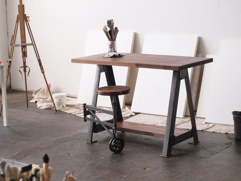 Walnut Stand Up Sit Down Work Station Desk and stool image 0