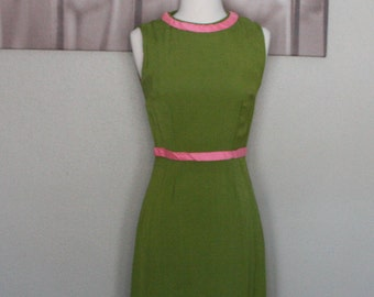 Green and Pink 1960's long dress, gown, handmade, sleeveless