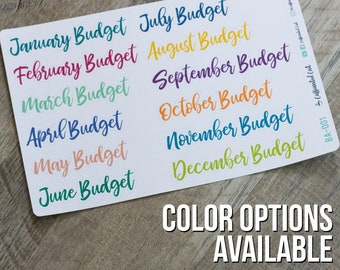 Monthly Budget Header Stickers - Removable Matte Planner Stickers