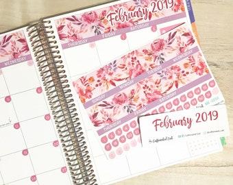 Calendar Kit - February Sunset Floral [ MK-009 ] Planner Stickers