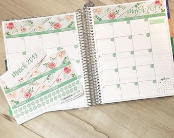 Calendar Kit - March Spring Floral [ MK-010 ] Planner Stickers
