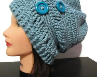 Crochet slouchy hat, seafoam slouchy hat with buttons