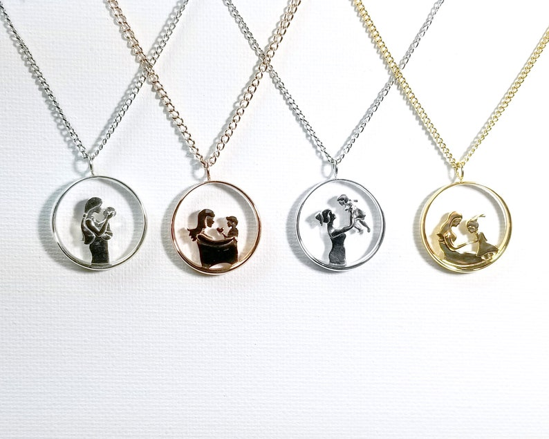 Silver, Brass, Birthday, Mother/'s Day, Christmas gift for mom Motherhood Collection Pendant Necklace v3 Mother and Daughter