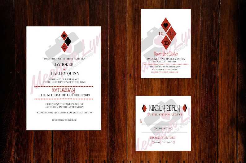 Harley Quinn Joker Wedding Invitation Set Digital Etsy
