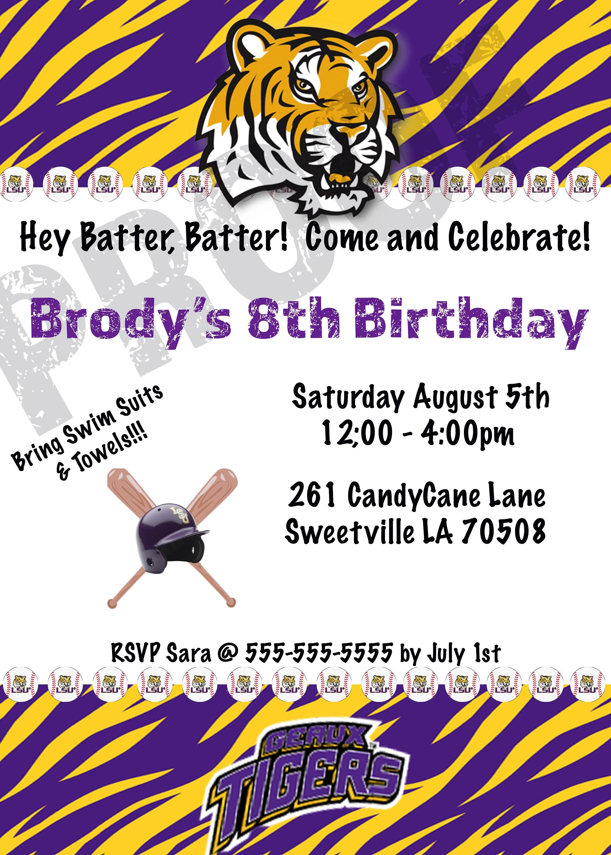 LSU Baseball Birthday Invitation Digital | Etsy