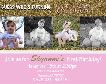Baby Girl 1st Birthday Invitation *Digital*