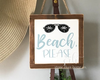 Beach Please mini wood sign | Wreath decor | Entry Decor | Front Door Decor | Farmhouse Decor | Fixer Upper