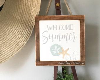Welcome Summer mini wood sign | Wreath decor | Entry Decor | Front Door Decor | Farmhouse Decor | Fixer Upper