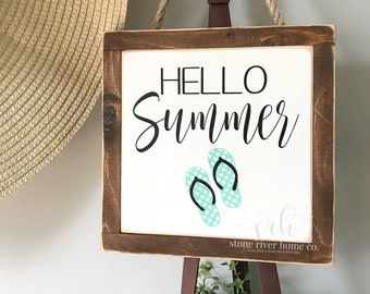Hello Summer mini wood sign | Wreath decor | Entry Decor | Front Door Decor | Farmhouse Decor | Fixer Upper