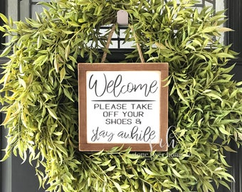 Please take off your shoes and stay awhile mini wood sign | Wreath decor | Entry Decor | Front Door Decor | Farmhouse Decor | Fixer Upper
