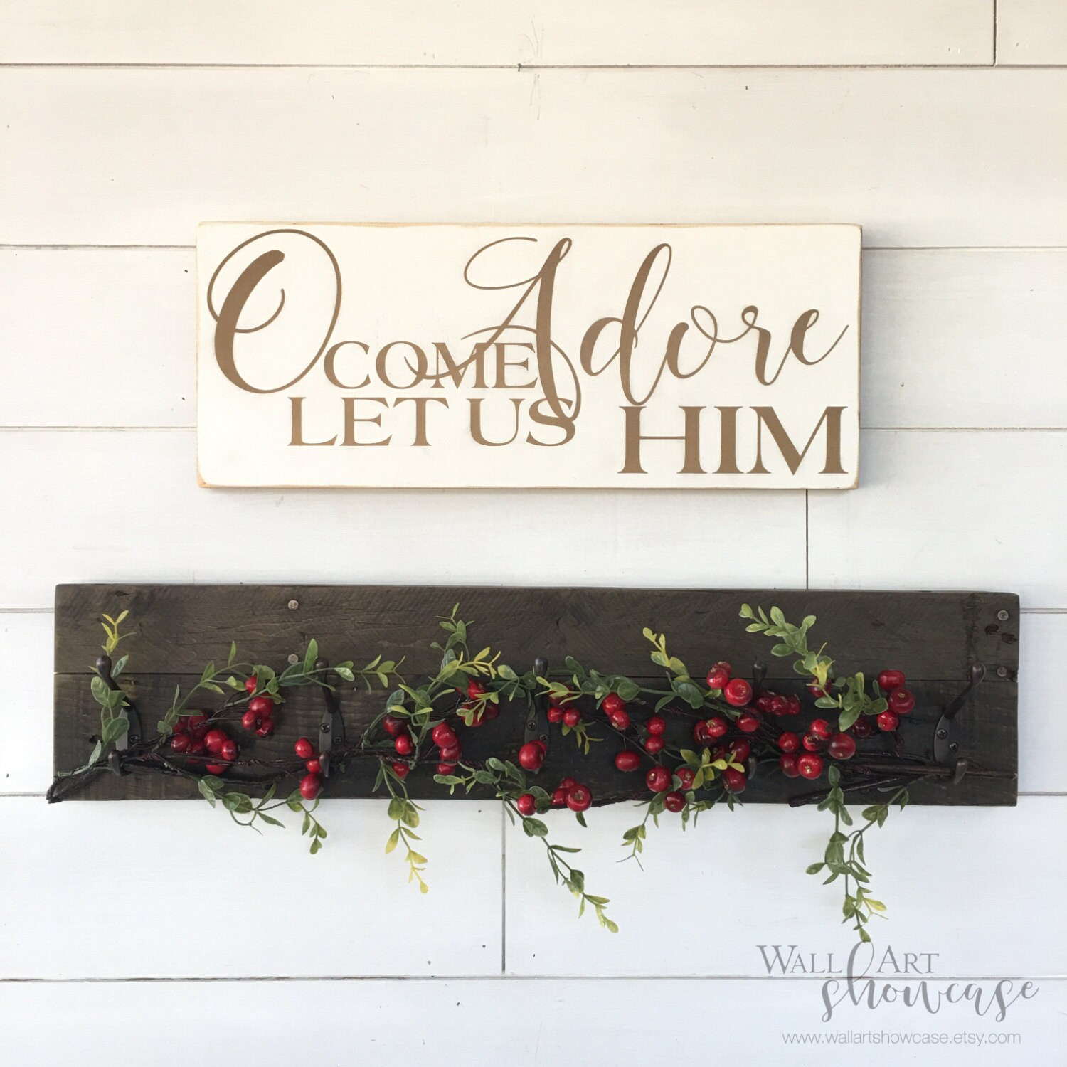 Oh Come Let Us Adore Him Wood Signs Christmas Signs Wood: O Come Let Us Adore Him Painted Wood Sign Christmas Sign