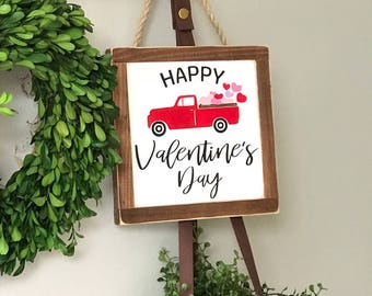 Happy Valentines Day Painted Wood Sign | Distressed Rustic | Rustic Home Decor | Wall and Shelf Decor | Valentines Day Decor