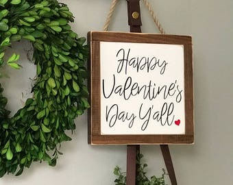 Happy Valentines Day Y'all Painted Wood Sign | Distressed Rustic | Rustic Home Decor | Wall and Shelf Decor | Valentines Day Decor
