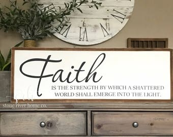 Faith Painted Wood Sign | Home Decor Sign | Distressed Rustic Antiqued sign Decor | Fixer Upper | Farmhouse Decor
