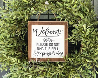 Shhh please do not ring the bell sleeping baby mini wood sign | Wreath decor | Front Door Decor | Farmhouse Decor | Fixer Upper
