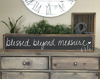 Blessed Beyond Measure Hand lettered Painted Wood Sign | Distressed Rustic Home Decor | Wall Decor | Fixxer Upper | Farmhouse Style Decor