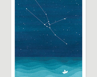 Watercolor painting Taurus Zodiac Constellation giclee print nautical wall decor starry night sky home teal art by VApinx