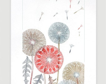 Watercolor painting Dandelion original watercolor painting wall decor flower illustration wall hanging A4 by VApinx