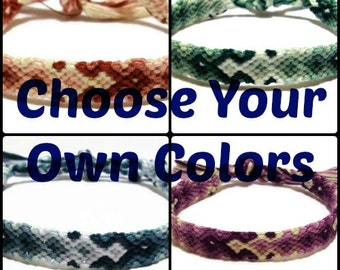 You Choose The Colors ~ Custom Made Arrowhead Pattern Embroidery Macrame Friendship Bracelet, Descending Diamond Pattern Friendship Bracelet