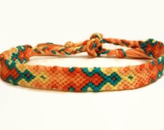 Summer Tropical Sunset Color Themed Decending Diamond Arrowhead Pattern Embroidery Macrame Friendship Bracelet