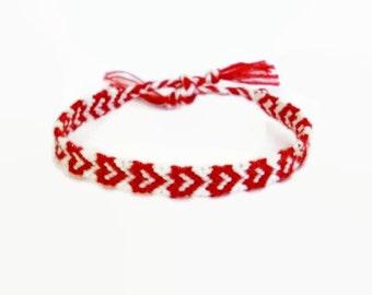 Red Heart Pattern Embroidery Macrame Friendship Bracelet