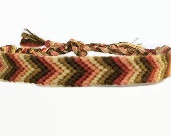 Spring Rose Brown Beige & Cream Chevron Pattern Embroidery Macrame Friendship Bracelet, Blossom Tone Friendship Bracelet