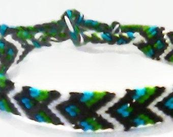 Unique Simple Blue Green Black and White Diamond Chevron Pattern Embroidery Macrame Friendship Bracelet