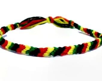 Rasta Themed Thin Candy Stripe Pattern Embroidery Macrame Friendship Bracelet with option of Marijuana Charm